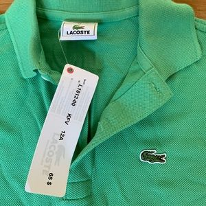 LACOSTE NWT Kids green polo Size 12y